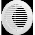 Решетка вентиляционная круглая с пластиковой сеткой D130 вытяжная АБС с фланцем D100